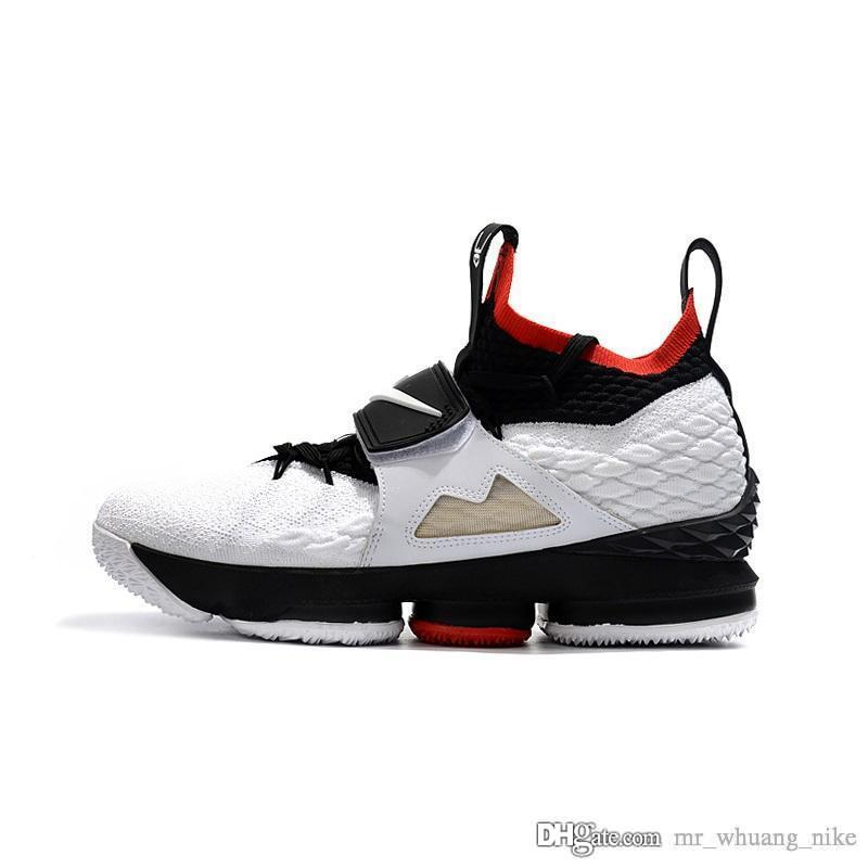 huge discount 9033b 1313d Cheap Men Kith X Lebron 15 Diamond Turf low tops basketball shoes Bred  Black Red White Gold boys girls outdoor sneakers boots with box