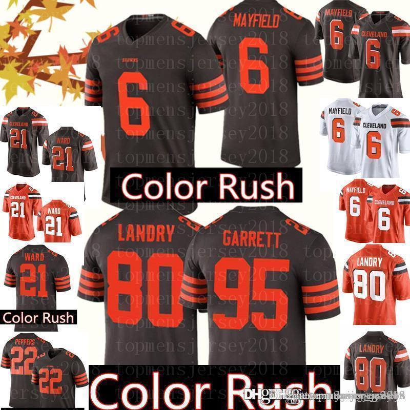 big sale 938ff 1fb3e Cleveland Jersey Browns 6 Baker Mayfield Jerseys Mens 80 Jarvis Landry 95  Myles Garrett 21 Denzel Ward 22