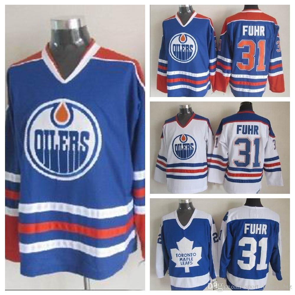 8470774cd 2019 High Quality Mens  31 Grant Fuhr Jerseys 1987 CCM Vintage Edmonton  Oilers Grant Fuhr Hockey Jersey 31 Toronto Maple Leafs Stitched Logo From  ...