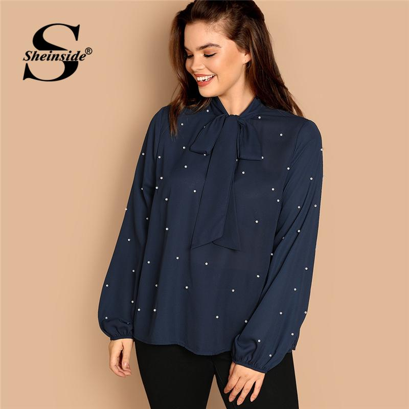 a71b66ee70e9 2019 Sheinside Navy Plus Size Tie Neck Pearl Embellished Top Women Blouse  Elegant Bishop Sleeve Ladies Tops & Blouses Womens Shirts From Jerkin, ...