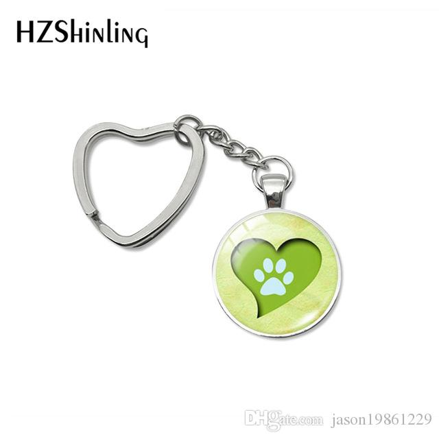 2019 New Fashion Lovely Dog Paw Print Heart Key Chains My Little Puppy Friends Quotes Glass Dome Keychains Holder Jewelry Gifts