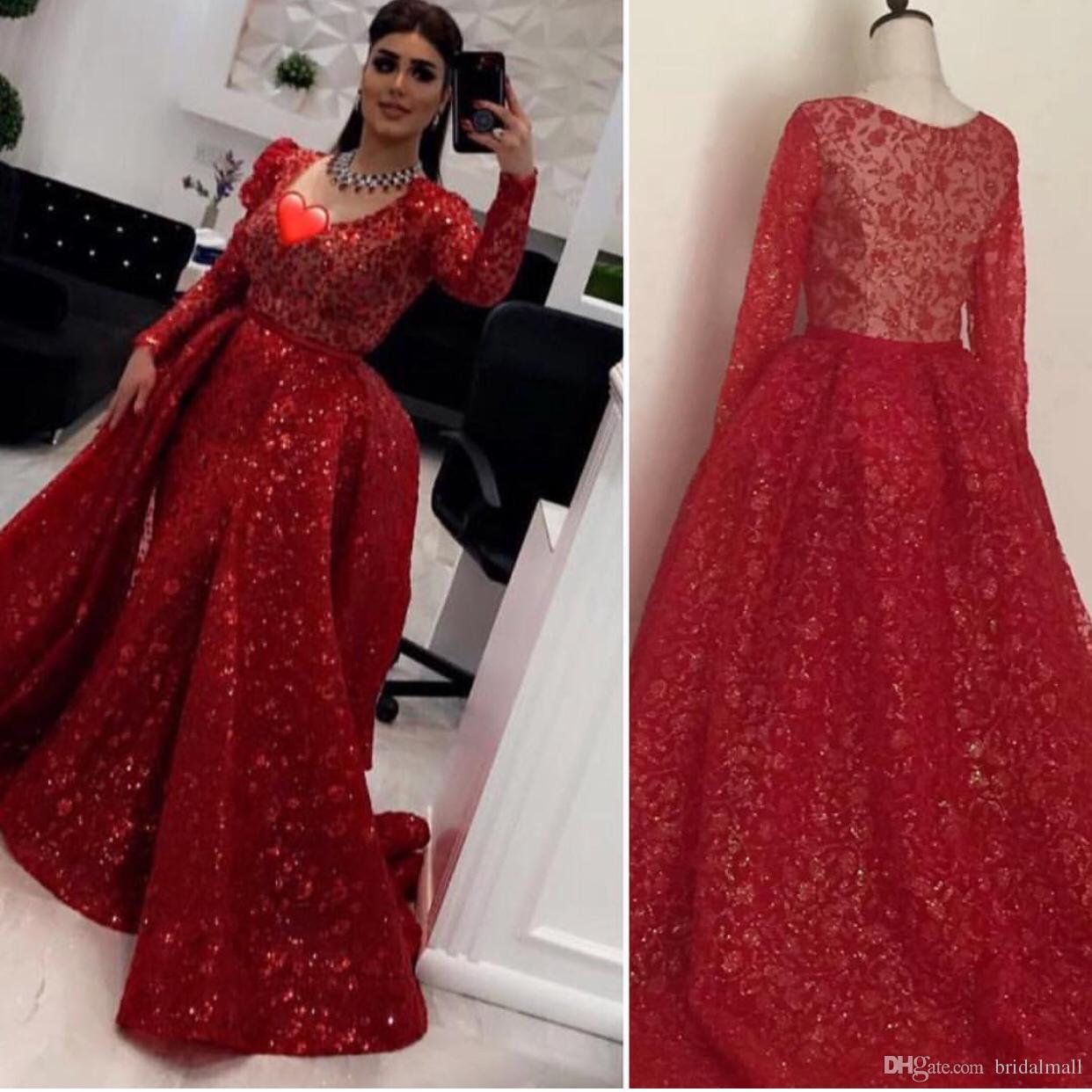 19db3f4e6452 Wine Red Lace Appliques Overskirt Evening Dresses 2019 Elegant V Neck Long  Sleeves Dubai Arabic Formal Dress Sheer Back Prom Dresses Mermaid Black  Formal ...