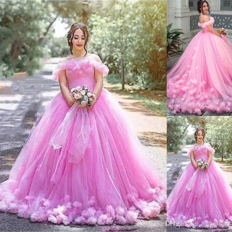d5c34abfc2a2 Sweety Pink Princess Ball Gown Wedding Dresses Long With 3D Floral Appliques  Off Shoulder Tulle Puffy Skirt Bridal Gowns Engagement Dress Wedding Dress  For ...