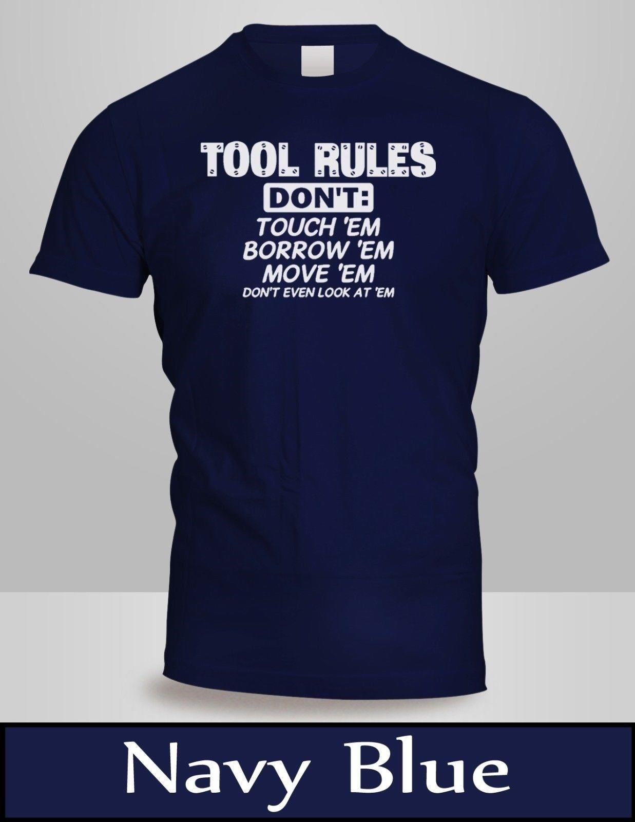 Tool Rules, Funny Car Mechanic T-Shirt Mens Navy Blue - Birthday for Dad  Tee 2 funny 100% Cotton t shirt