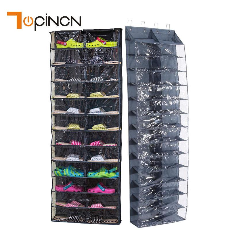 26 Pockets Shoes Rack Storage Hanger Organizer Over Door Shoe Storage Bag Space Saver Rack Non-Woven Hanging Storage