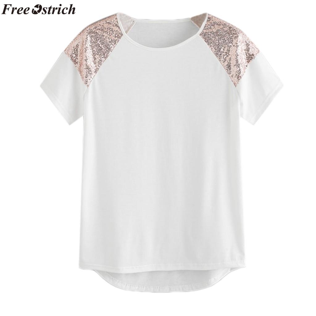 FREE OSTRICH women's sequin stitching O-neck T-shirt new Ladies comfortable casual summer short-sleeved T-shirt tops plus size