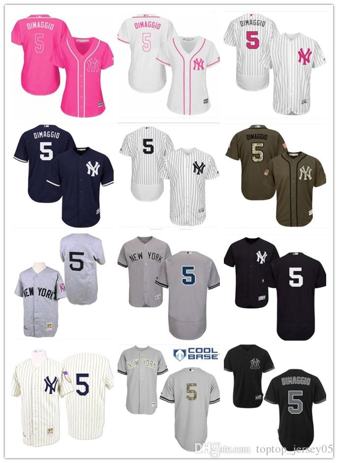 buy popular 1132f c474a 2018 top New York Yankees Jerseys #5 Joe DiMaggio Jerseys  men#WOMEN#YOUTH#Men s Baseball Jersey Majestic Stitched Professional  sportswear