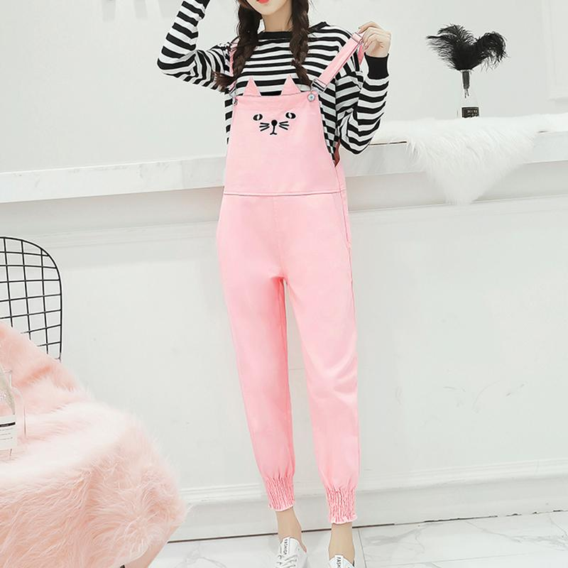 3b6038fabf3 2019 Korean Fashion Denim Rompers Womens Jumpsuit Cute Cat Black Pink Jean  Overalls Casual Loose Pockets Jumpsuit Pants From Movearound