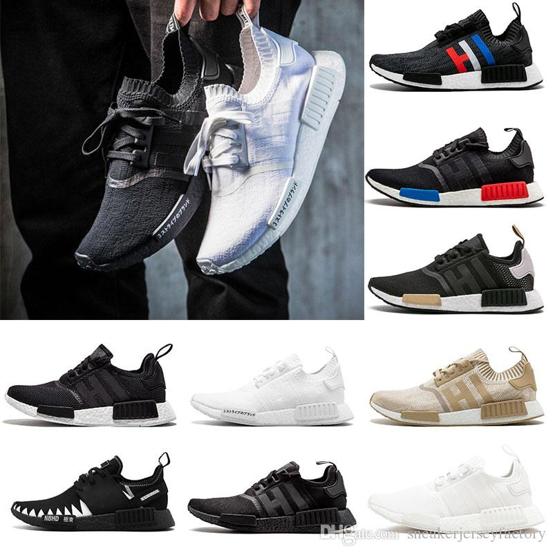 480ceab1bc3a4 2019 Triple White Black Oreo NMD Runner R1 Men Womens Girls Designer ...