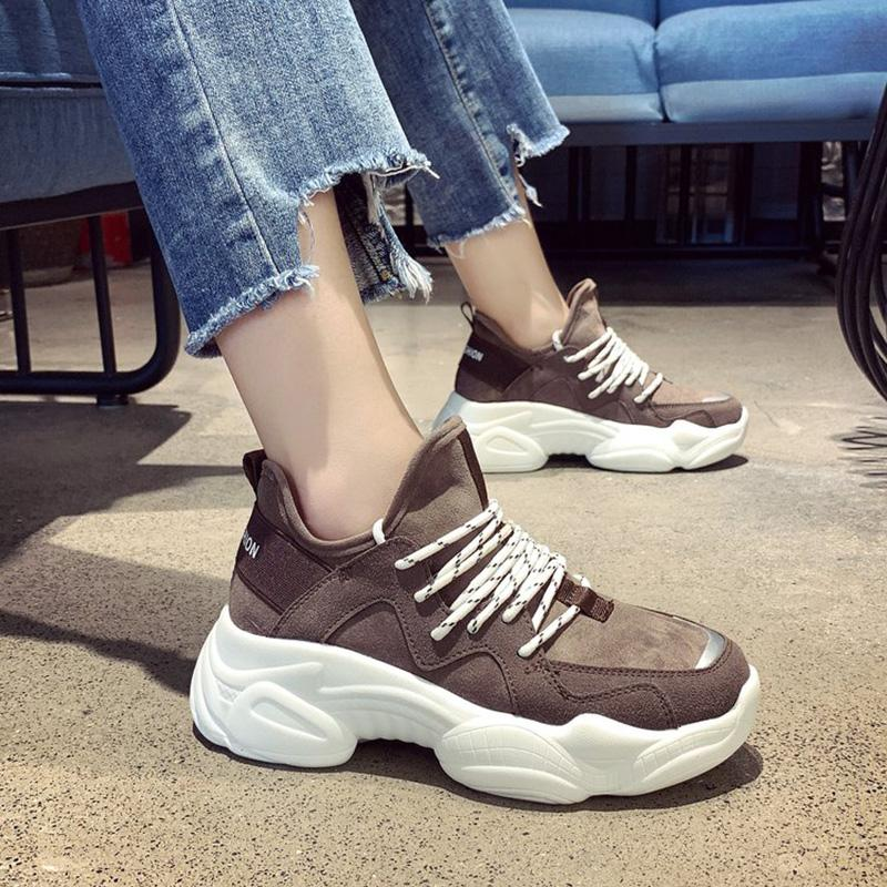 ec9a3d36cf3 Chunky Women s Sneakers 2019 Spring Fashion Skate Women s Platform Lace Up  Shoes Woman Trainers Vulcanized Old Papa Shoes New S