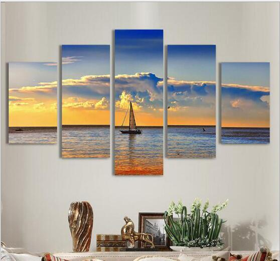 Canvas Wall Art Pictures Frame Kitchen Restaurant Decor 5 Pieces Sailboat Sunset Living Room Print Posters