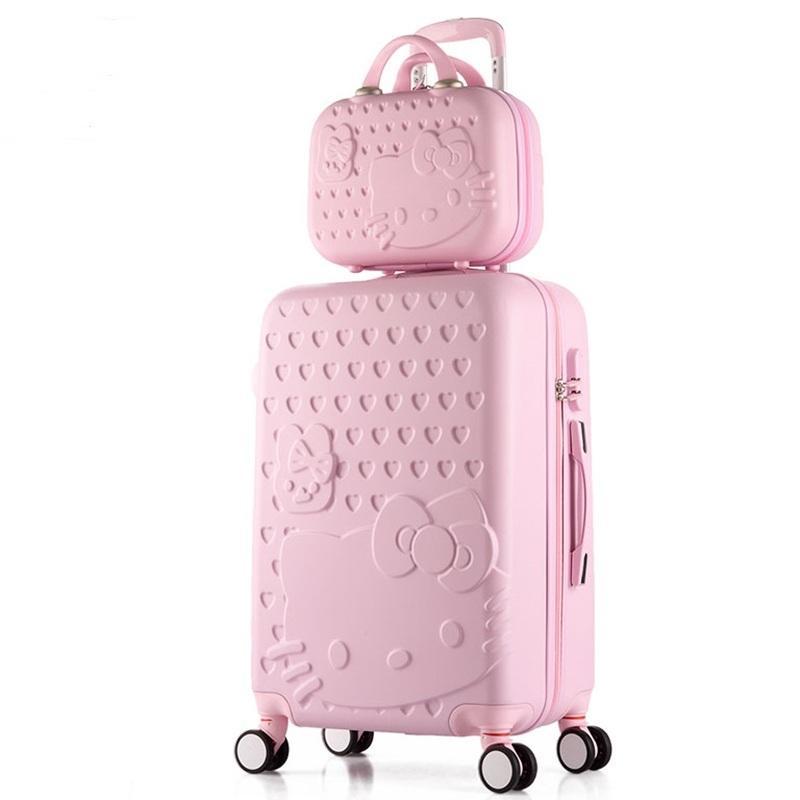 Frauen Trolley Gepäck Set Abs Hardside Reise Koffer Make-up Tasche Auf Rädern Mädchen Spinner Roll Koffer Kosmetik Tasche Gepäck & Taschen Gepäck Sets