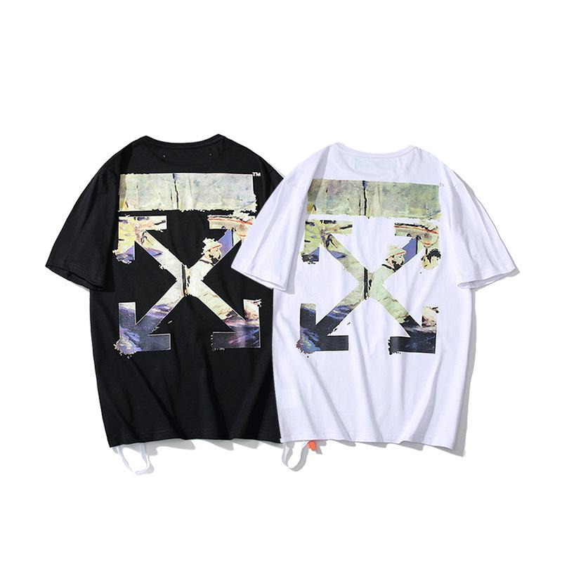 Summer European and American Tide WHITE Graffiti Oil Painting Loose Short-sleeved T-shirt for Men and Women