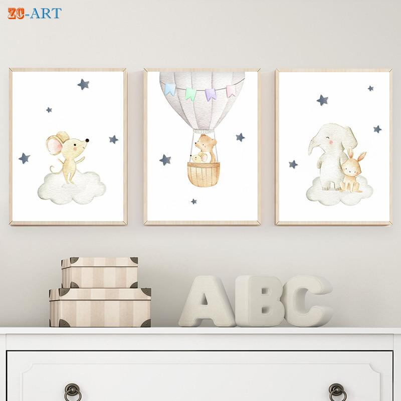 Baby Animals Prints Moon Star Clouds Posters Canvas Painting Grey Neutral Wall Art Kids Bedroom Decorative Picture Nursery Decor