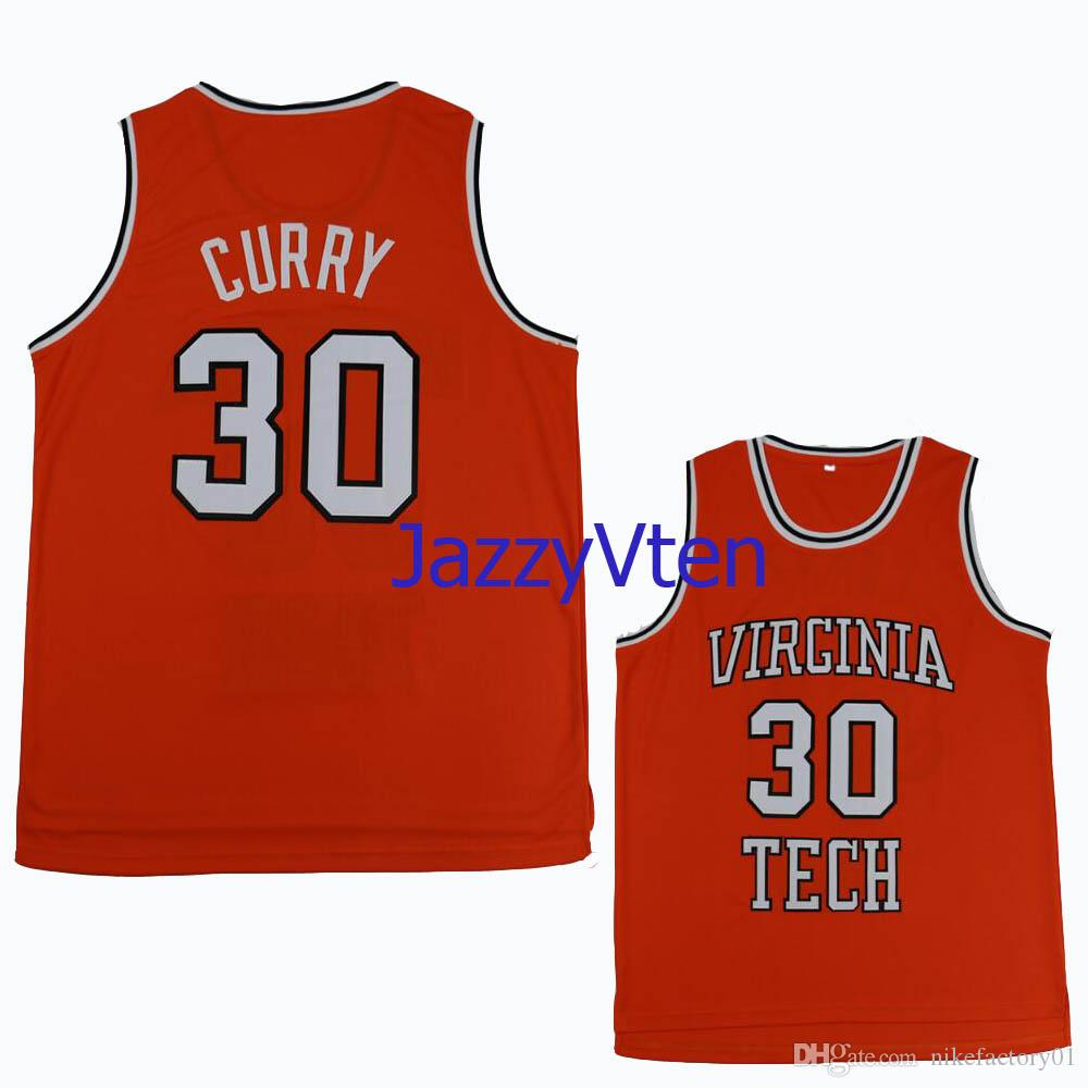 timeless design c7778 58b4f #30 Dell Curry throwback Tech University Hokies College Retro Classic  Basketball Jersey Mens Stitched Davidson Jersey Jerseys