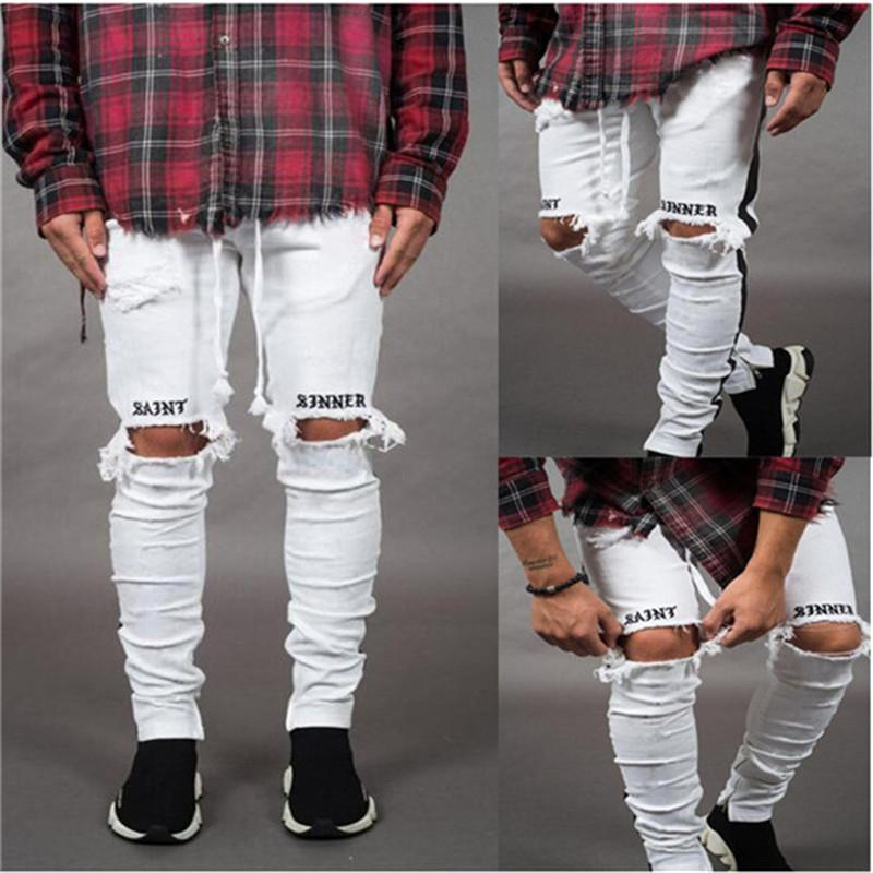 2019 New Fashion Pants Men Skinny Jeans Men Streetwear Ripped Jeans For Man Fitted Bottoms Zipper Hip Hop Jeans Homme Denim Y190603