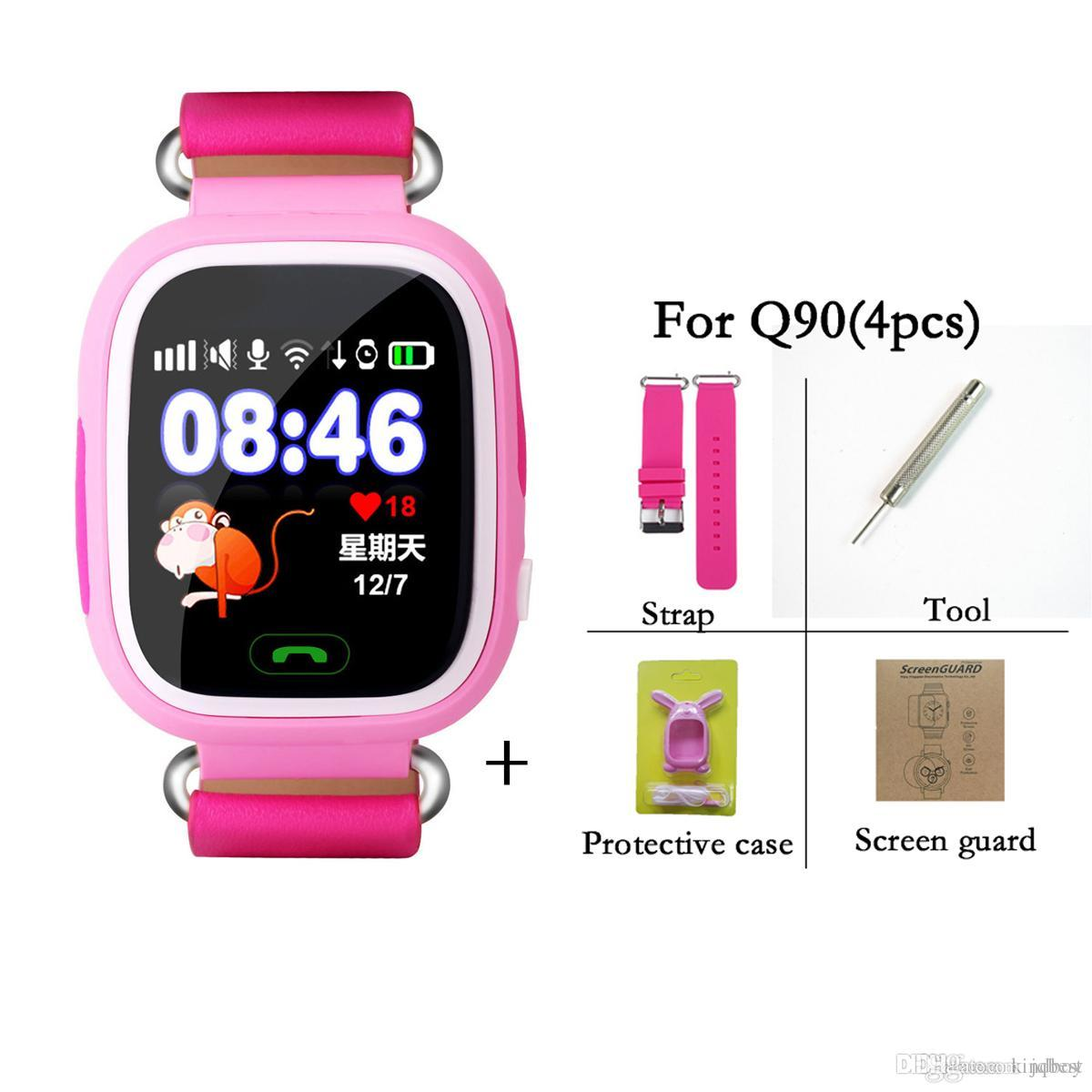 Q90 bluetooth smartwatch com lg wifi lbs para iphone ios android telefone inteligente wear relógio dispositivo wearable smart watch 3 cores dhl grátis