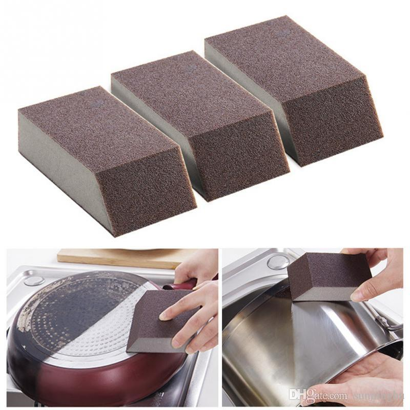 Magic Sponge Brush Aluminum Oxide Emery Sponge Rust Dirt Stains Clean Brush  Bowl Washing Pot Home Kitchen Cleaning Brush