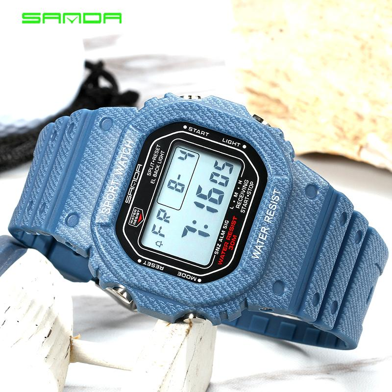 SANDA SD339G Denim Sport Digital Watch G Style LED Men's Watches Waterproof Shock Resist Clock relogio masculino