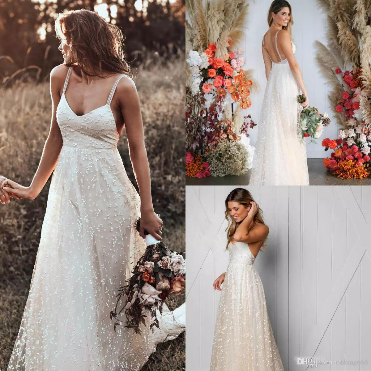 Discount Chic Boho Wedding Dresses 2019 Spaghetti Lace Spot Tulle Sexy Backless Sweep Train Bohemian Dress Custom Made Plus Size Bridal Gowns Search: Short Wedding Dress Boho Chic At Websimilar.org