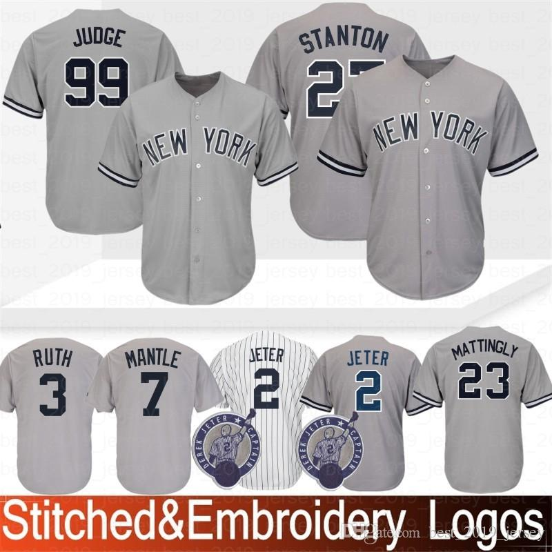 new arrival dc133 1a7a7 New York 99 Aaron Judge Yankees Jersey 3 Babe Ruth 23 Don Mattingly 7  Mickey Mantle 42 Mariano Rivera Baseball Jerseys 100% Stitched 2019