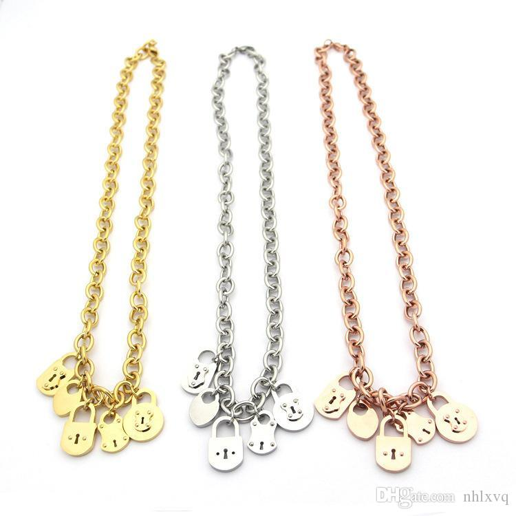 Stainless steel jewelry T letter multi pendant fine necklace chain 5 locks ladies thick necklace 18K gold necklace chain length 49.5cm