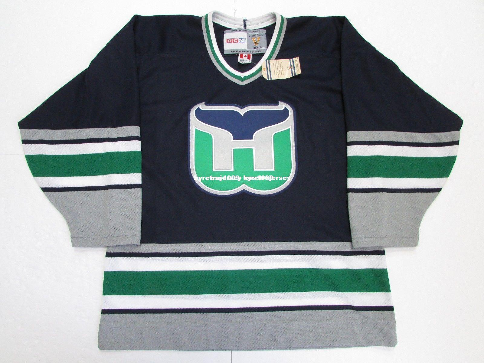 44711f94ba9 Cheap Custom HARTFORD WHALERS NAVY VINTAGE CCM HOCKEY JERSEY SIZE ...