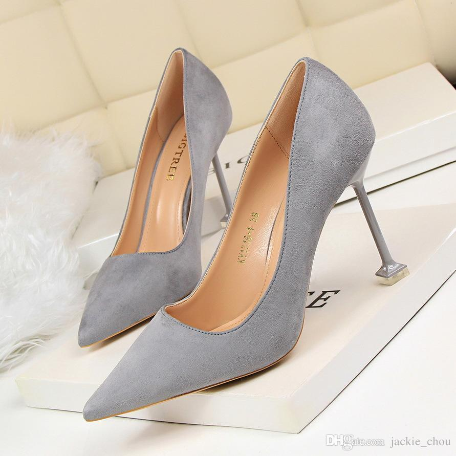 Sexy2019 Ladies Pop Candy Color High-heeld Pointed Toe Pumps Suede Shollow Mouth Party Dress Stiltto Shoes 1716-1