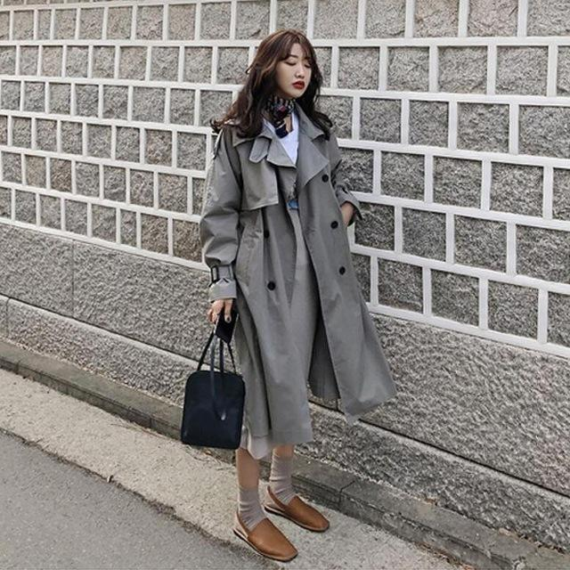 f8a2dfe477 Korean style women casual loose trench coats with sashes 2019 spring Autumn  long elegant coats ladies Overcoat