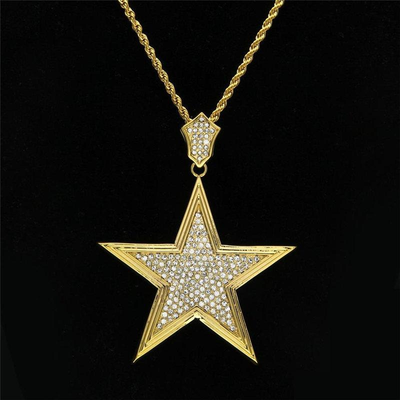 52bb1342348f5 Shining Star Pendant Necklaces Mens Luxury Gold Plated Charm Necklace  Fashion Rhinestone Golden Stars Necklaces Jewelry Lover Gift