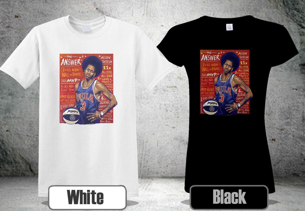 huge discount 34513 68b9e ALLEN IVERSON T-Shirt THE ANSWER CUSTOM OLD SKOOL Black&White Colour Shirt  Style Round Style tshirt Tees Custom Jersey t shirt