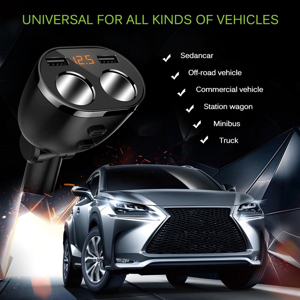 5V 3.6A Dual USB Car Charger Fast Charging Quick Charge Power Adapter with Double Cigarette Lighter Socket Splitter TSLM1