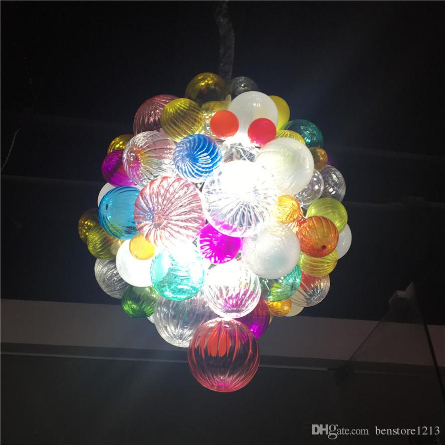 Modern Pendant Light LED Bulbs Cheap Hand Blown Glass Balls Chandelier Art Glass Small Chandelier for New House Decoration
