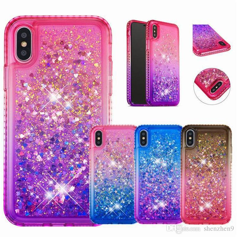 Phone Case Luxury Glitter Liquid Quicksand Floating Flowing Sparkle Shiny Bling Diamond Stylish Clear Cute Case For Iphone X 8 SCA537