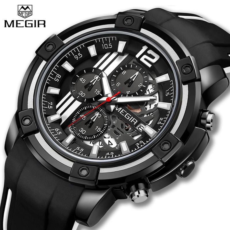 Compre Nuevo MEGIR Mens Casual Relojes Top Marca De Moda De Lujo Relojes  Deportivos Hombres Cronógrafo Reloj De Cuarzo Resistente Al Agua Reloj  Hombre ... 5dd83a7cc98d