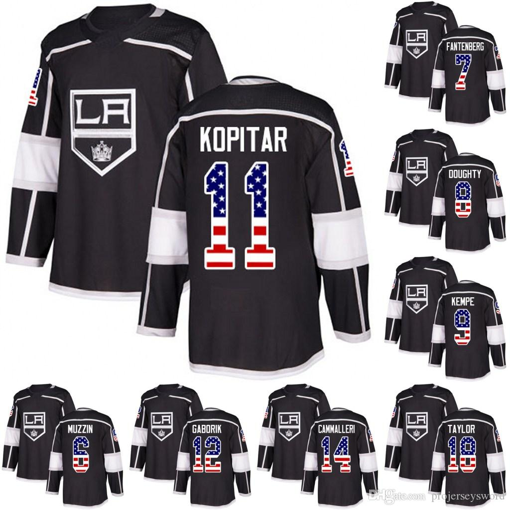 Los Angeles Kings USA Flag Jersey 8 Drew Doughty 9 Adrian Kempe 11 Anze  Kopitar 13 Kyle Clifford 6 Jake Muzzin Hockey Jerseys Los Angeles Kings  Jersey Anze ... 391700ca2