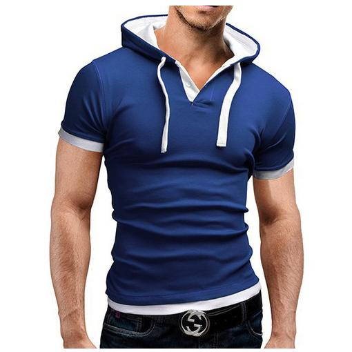 2017 NEW Men Contrast Color Hooded Shirt Dark Blue & White