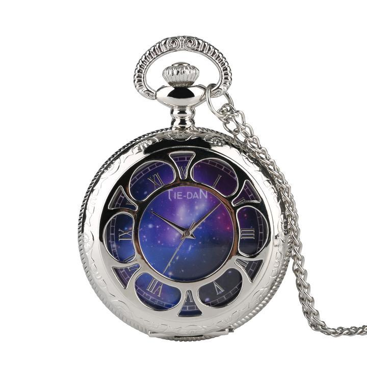 Quartz Pocket Watch for Men, Unique Starry Sky Pocket Watch for Teenager, Creative Decorations Retro Necklace Pocket Watch