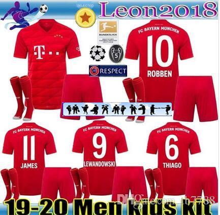 official photos 517de 416e2 Adult kids kits 2019 2020 Bayern Munich jerseys 19 20 LEWANDOWSKI ROBBEN  TOLISSO THIAGO home soccer jersey JAMES youth Football shirt