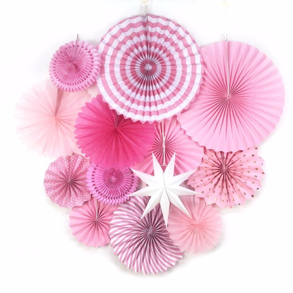 13pcs /Set Pink Theme Party Supplier Paper Fan Hanging Decorations Paper Rosettes Backdrop Birthday Bridal Showers Weddings Decor