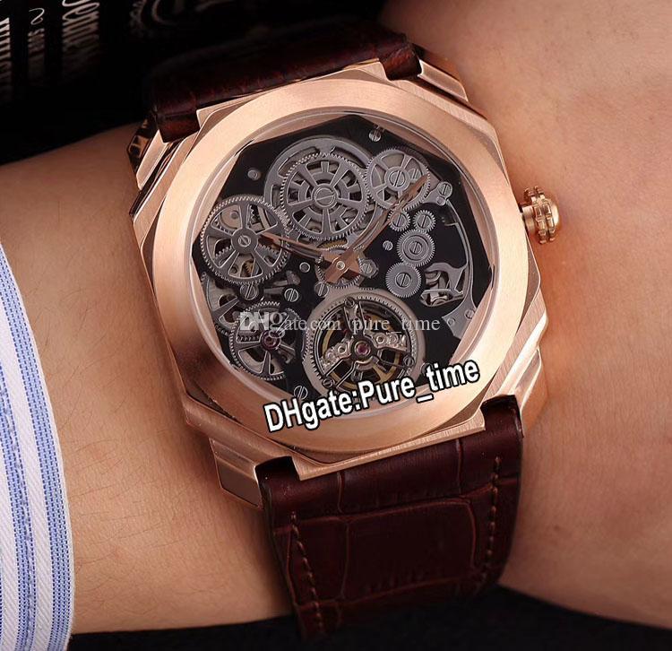 Лучший выпуск Octo Finissimo Турбийон Корпус из розового золота 102719 BGO40PLTBXTSK Черные каркасные автоматические мужские часы Коричневые кожаные гентские часы