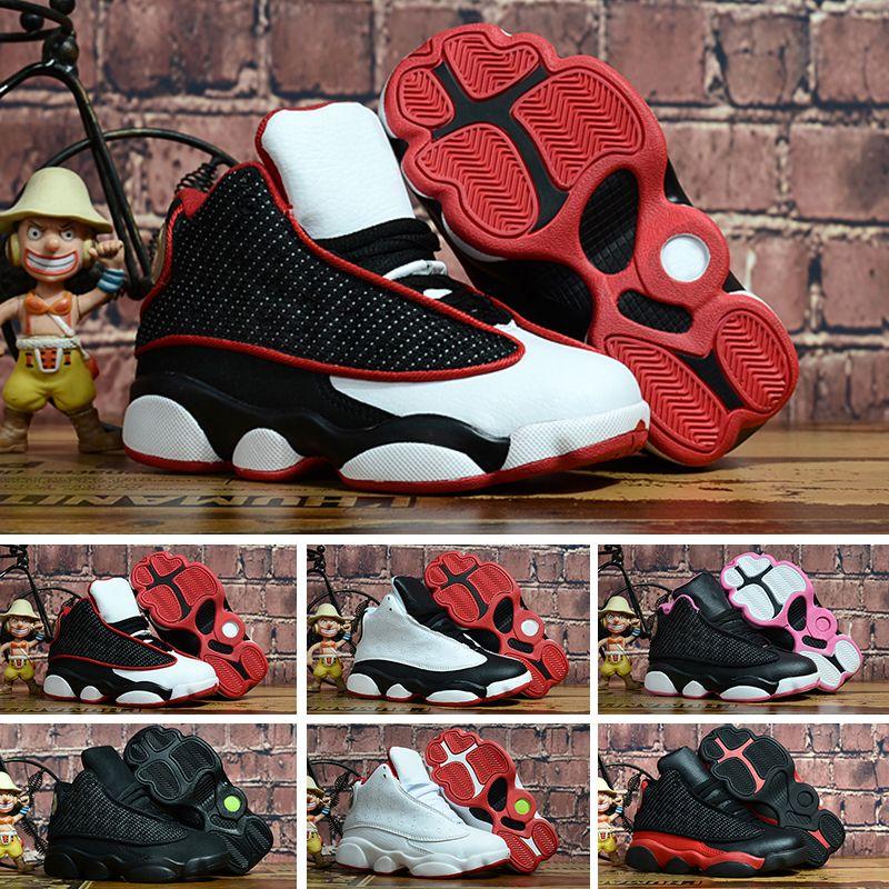 online retailer 47677 7f2f0 Compre Nike Air Jordan 13 Retro Zapatillas De Deporte Para Niños 13  Zapatillas De Baloncesto 2018 Para Niños Niñas Negro Rojo Blanco Negro Rosa  Barato XIII ...