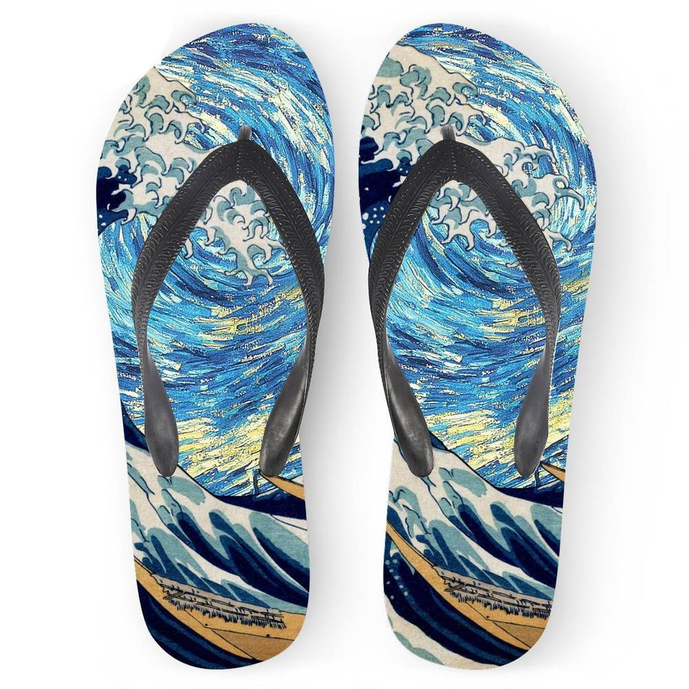 Customized Flip Flops Women Summer 2019 Art Painting Starry Night Wave Printing Beach Flat Water Flip Flops for Ladies Slippers