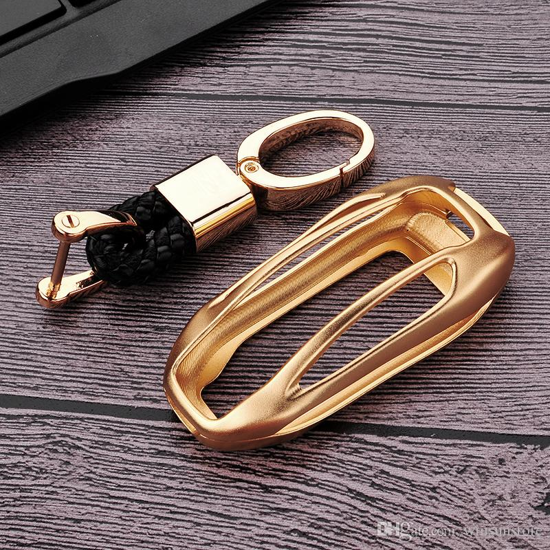 For Tesla MODEL X Aluminum Alloy Car Key Case Cover Key Shell Bag Protector Gold