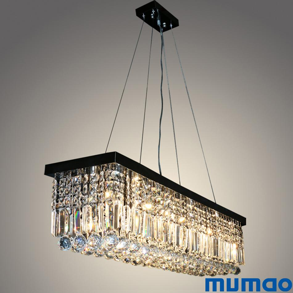 Modern crystal chandeliers rectangular led pendant lights indoor art deco lamps lighting fixtures for dining living room hotel