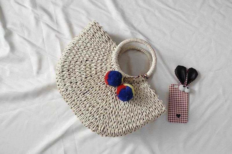 Mujeres Pompon Beach tejiendo bolso de paja de las señoras bolsa de playa envuelta en forma de luna bolsa 2019 nuevo verano andmade bolsas M123