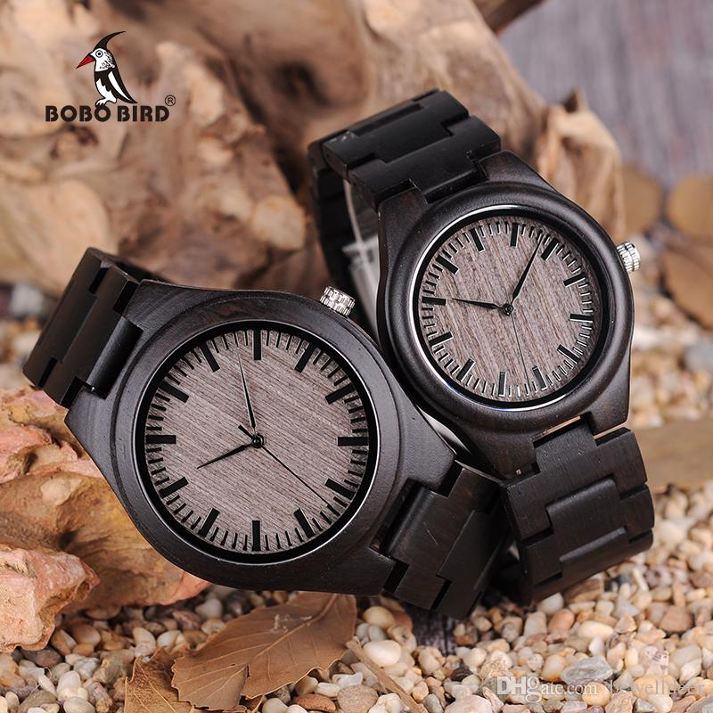 ad7efe280d1 Compre BOBO PÁSSARO China Relógio De Pulso Dos Homens Relógio De Moda Para  As Mulheres Simples Design De Madeira De Quartzo Definir Casal Relógios De  ...