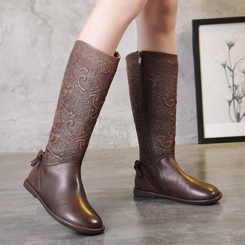 watch beauty first rate Elegant Embossed Flowers Shoes Woman Latest Old-Fashioned Design High Boots  Side Zipper Low Heel Lady Genuine Leather Boots