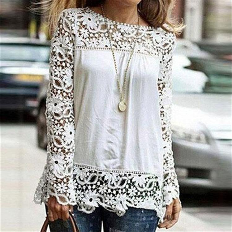 Spring Autumn Women's White Blouses Cotton Blend Designer Ladies Shirts Long Sleeve Hollow Floral Vintage Women's Clothing