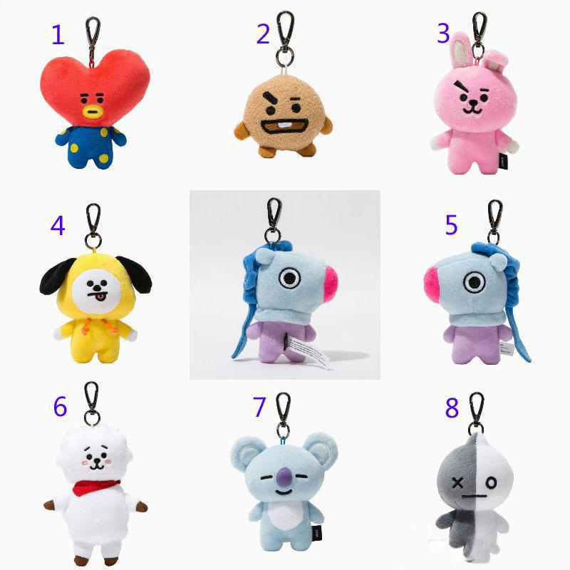 8 Style 9-12cm Kpop Plush Dolls Bangtan Boys Van JUNG KOOK Jimin emoji Plush pendant Key chain stuffed Toy TATA COOKY CHIMMY